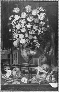 Vanitastilleven met een bloemstuk