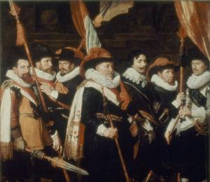 Zeven officieren van het oranje-wit-groene vendel van kapitein Herman van Brosterhuyzen, 1626