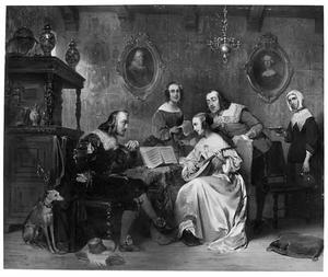 Musicerend gezelschap in historische kledij