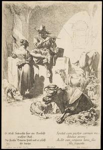 Spinnende herderin bij een fluitspelende herder met vee, gezeten op de rand van een waterput