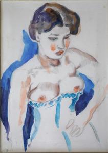Vrouw met ontblote borsten