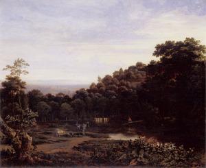 Ezels, een koe en een visser aan de waterkant in een bebost landschap