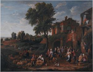 Landschap met een feestende boeren en schapen scherende herders