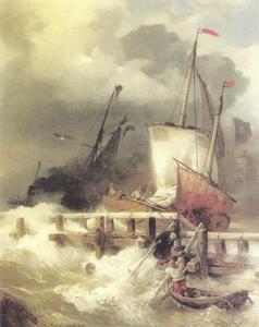 Het binnenvaren van de haven bij een storm