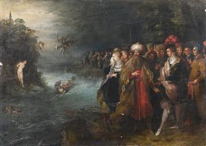 Perseus redt de aan de rots gekluisterde Andromeda van het zeemonser terwijl Cepheus en Cassiopeia toekijken
