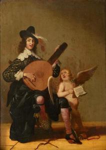 Luitspelende jonge man en zingende putto (de vijf zintuigen: het Gehoor)