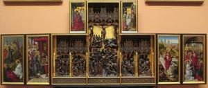 Gethsemane, Christus voor Pilatus (binnenzijde linkerluik); God de Vader (binnenzijde linker bovenluik); De geseling, de kruisdraging, de kruisiging, de kruisafneming, de graflegging (middendeel); De opstanding, Christus' verschijning aan de apostelen (binnenzijde rechterluik); De aanbidding der Wijzen (binnenzijde rechter bovenluik)