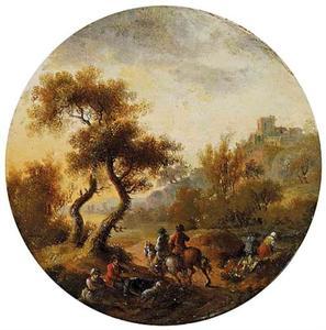 Landschap met ruiters en een burcht in de achtergrond