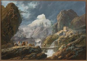 Berglandschap met twee hangbruggen