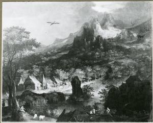 Rivierlandschap met een dorp, een toren in het water en een roeiboot