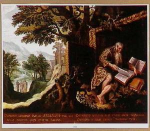 De H. Arsenius als kluizenaar in de wildernis