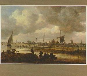 Rivierlandschap met vissers; op de achtergrond windmolens