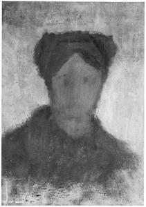 Studiekop van een boerin, en face tegen een lichte achtergrond