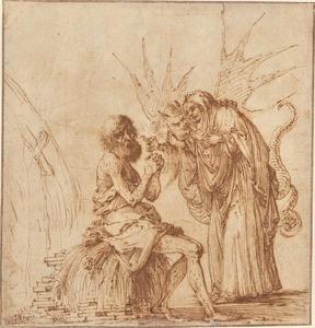 Job gekweld door demonen en beschimpt door zijn vrouw