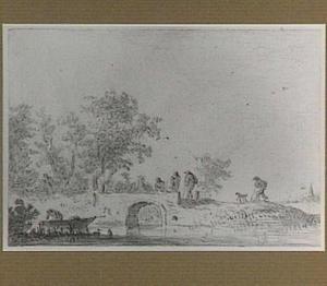 Rivierlandschap met figuren bij een stenen brug