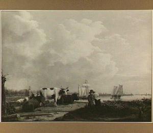 De ruïne van het Huis te Merwede aan de rivier de Merwede
