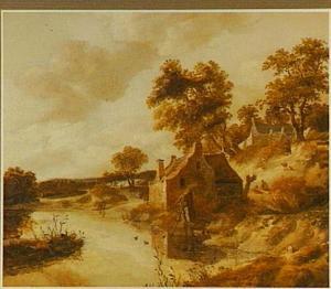 Duinlandschap met hengelaars bij boerderijen aan een riviertje