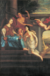 Allegorische voorstelling met onder meer Justitia en Pax