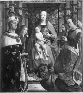 Maria met kind en de HH. Lodewijk en Margaretha. Mogelijk bedoeld als memorietafel voor Willem Hugonet, kanselier van Karel de Stoute