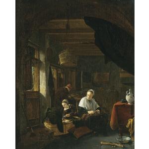 Interieur met een familie, een jong meisje voedt een wiegekind