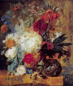 Stilleven met bloemen en vogelnest