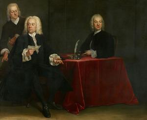 Portret van twee regenten en de binnenvader van het Leprozenhuis, Amsterdam