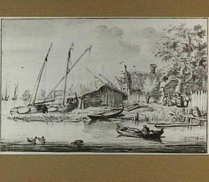 Rivierlandschap met boten en huizen