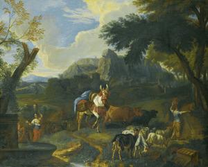 Zuidelijk landschap met vrouwen en vee bij een fontein