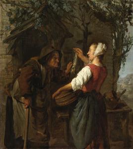 Haringverkoopster en oude vrouw