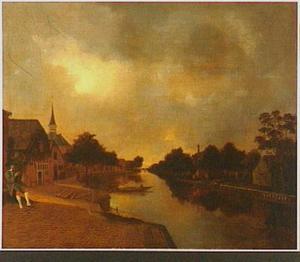Gezicht in Woubrugge; op de achtergrond de Ned. Hervormde Kerk
