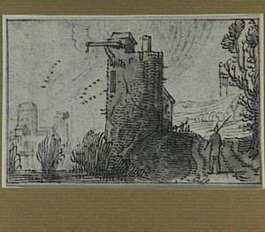 Rivierlandschap met toren