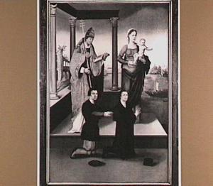 De H. Clemens, Maria met kind met stichters (oorspronkelijk de binnenzijde van het linkerluik van het drieluik van de schuitenvoerders in de St. Jacobskerk te Utrecht)
