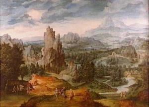 Een weids vergezicht over een rotsachtig landschap en een rivier met Jupiter en andere (mythologische?) figuren op de voorgrond