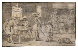 Soldaten in een herberg trictrac spelend