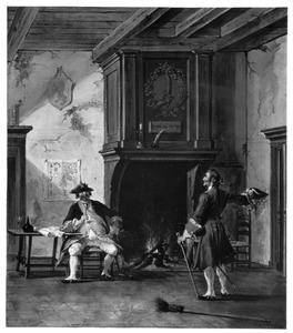 Wachtlokaal met rokende officier en militair bij een schouw