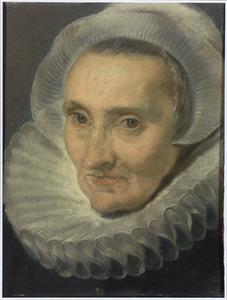 Portret van een vrouw met mutsje en plooikraag