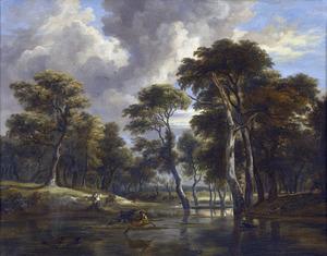Jachttafereel in boslandschap