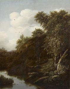 Boslandschap met een beek