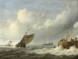 Zeilschepen op ruwe zee bij een havenhoofd