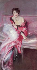 Portret van Madame Juillard (?-?) in het rood