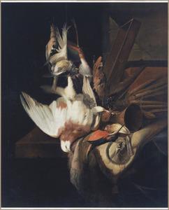 Stilleven met dode vogels en jachtgerei