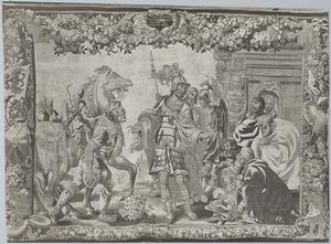 Alexander de Grote krijgt na zijn overwinning wapens ten geschenke en wordt als god aanbeden
