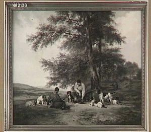 Rustende jagers in een heuvellandschap