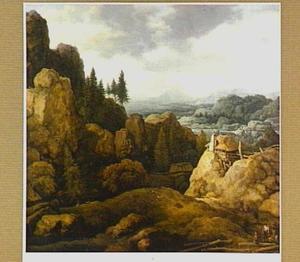 Berglandschap met rustende houthakkers