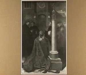 De H. Lambertus een crucifix aanbiddend