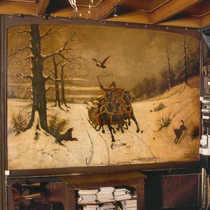 Winterlandschap met wolven en een arreslee