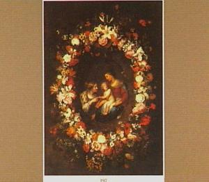 Bloemenkrans rond een uitbeelding van het mystieke huwelijk van de H. Catharina