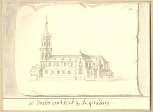 Schets van de St. Barbara's kerk te Culemborg