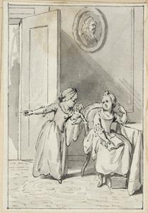 Illustratie voor 'Klaartje en Keetje' in de Kleine gedichten voor kinderen door H. van Alphen