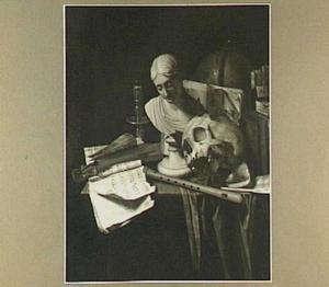 Vanitasstilleven van schedel, buste, boeken, muziekinstrumenten, muziekboek en een kandelaar